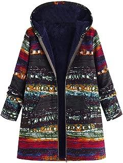 Women Coat Jacket Boho Print Flannel Inner Cotton Linen Padded Hooded Loose Outerwear Oversize Plus Size Overcoat
