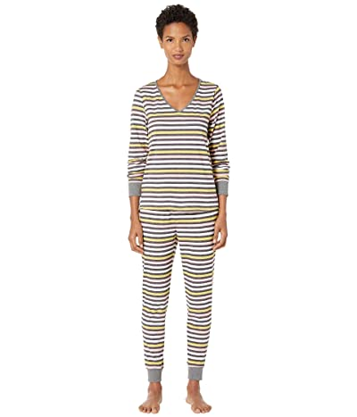 Kate Spade New York Brushed Jersey Long Pajama Set (Candy Stripe) Women