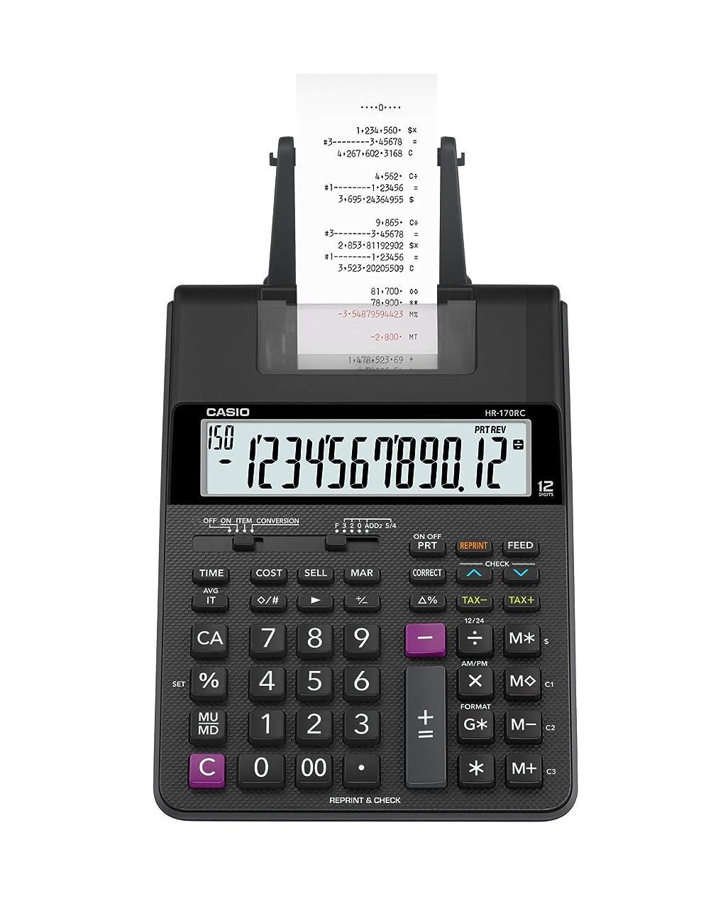 リビジョン孤独なマイクロCasio HR-170RC Plus ミニデスクトップ印刷電卓