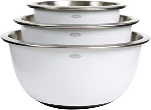 OXO Good Grips Stainless-Steel Mixing Bowl Set, White, 3-Piece