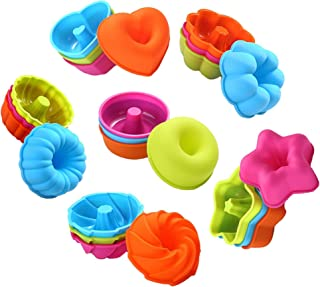 To encounter 24-Pcs Silicone Donut Molds Nonstick Muffin Cupcake Liners Reusable Baking Cups Easy Clean Donut Pans Oven-Mi...