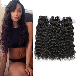 ShowCoco 10A Indian Natural Wave Hair Bundles,3 Bundles Raw Virgin Indian Human Hair Unprocessed Virgin Natural Wave Bundles(Natural Color 8 10 12 Inch)