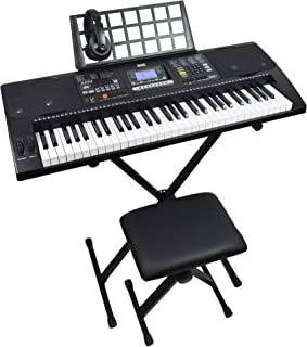 Axus AXP2PK 61 Key Beginner Touch Sensitive Electronic Keyboard Piano Package for Students with Stand, Stool, Headphones, ...
