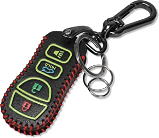 Marchfa Leather Key Fob Cover Holder 4 Buttons Smart Remote Control Shell Keyless Entry Case Protector for Nissan 350Z Altima Armada Maxima Quest Sentra Infiniti FX35 FX45 G35 I35 Q45 QX56 (Red)