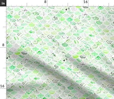 Roostery Duvet Cover, Green Marble Mermaid Fish Scallop Marbled Marbling Scale Scales Print, 100% Cotton Sateen Duvet Cover,
