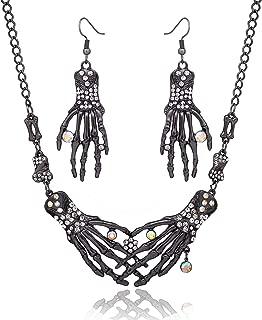 Halloween Necklace Earrings for Women Halloween Gothic Skeleton Collar Choker Necklace Skull Drop Earrings Halloween Jewelry Set