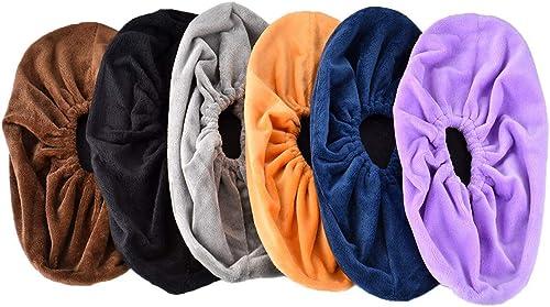 Queta 6 Paires Couvre-Chaussure lavables surchaussure crèche Surchausson tissu Réutilisables Chausson avec Flanelle P...