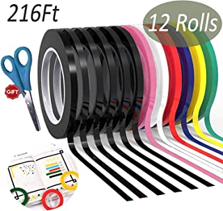 Hsxfl 12 Pack Graphic Art Thin Tape 1/8 Inch,Self-Adhesive Whiteboards Chart Thin Washi Tape (Multicolor)