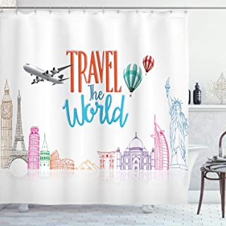 Ambesonne Saying Shower Curtain, Travel The World Lettering with Around World Landmarks Balloons Work of Art Image, Cloth ...