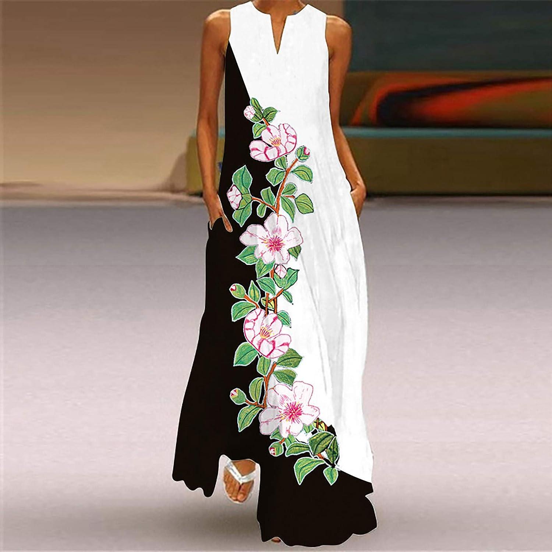 Tavorpt Summer Dresses for Women,Women's Casual Sleeveless Maxi Long Dress Floral Tunic Beach Party Sundress Boho Dress