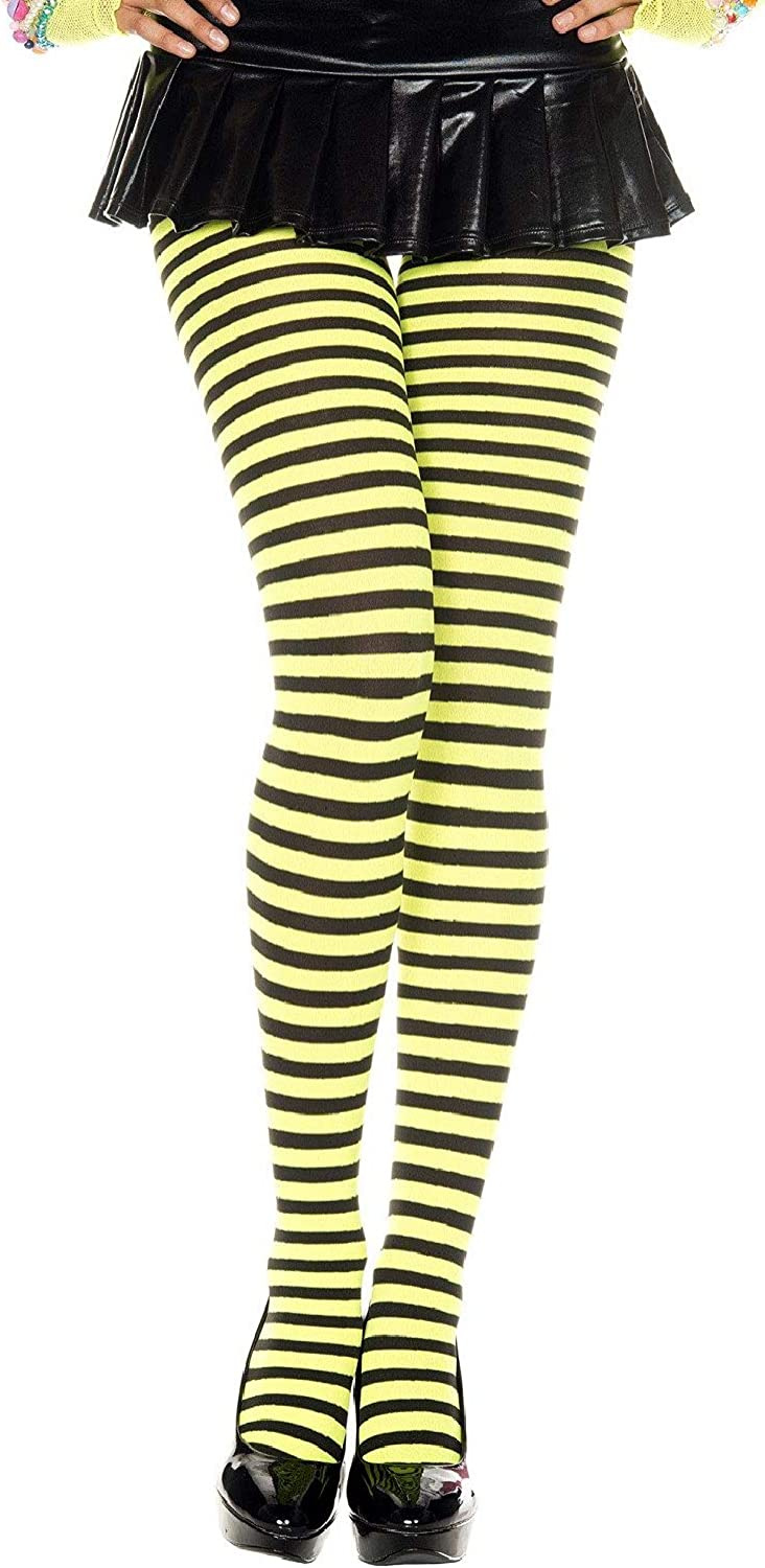 Music Legs Women's High material Opaque Striped Tights One Clearance SALE Limited time Black Neon Yellow