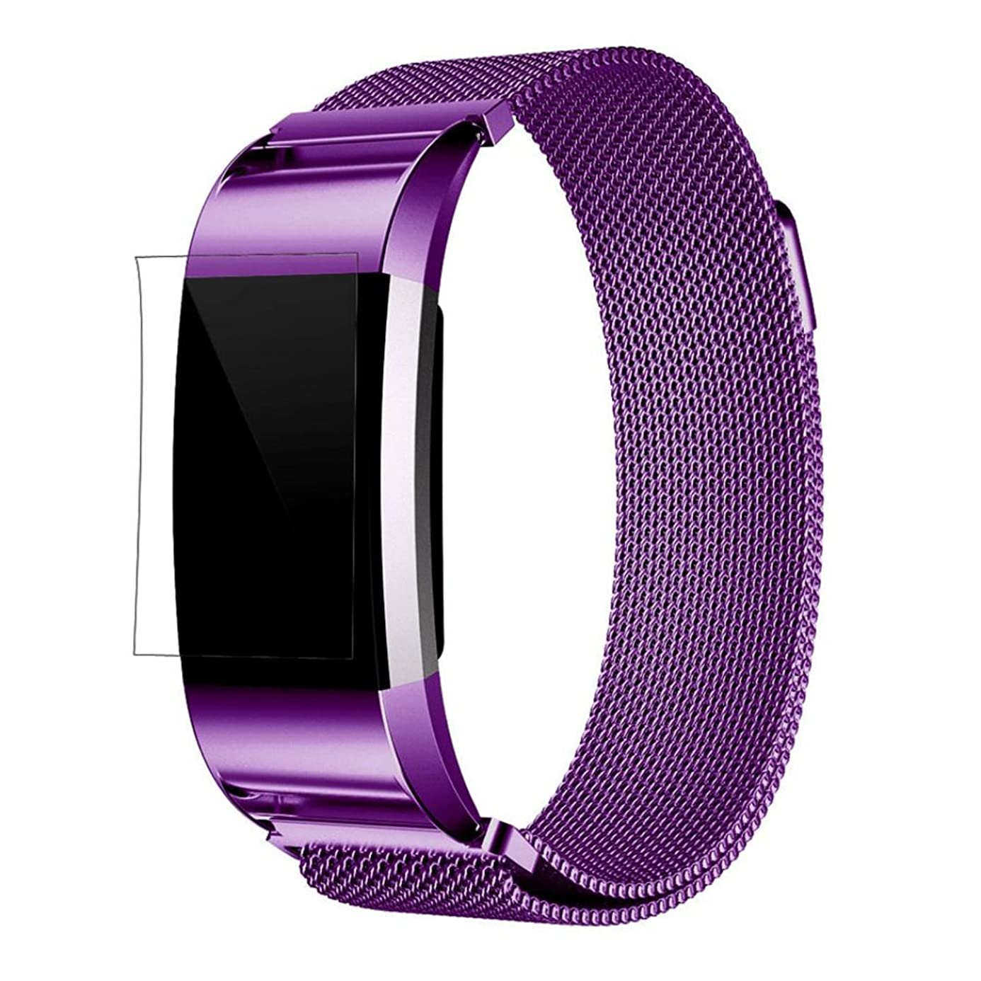For Fitbit Charge 2 Bands, FreshZone Accessories Replacement Band Stainless Steel Watch Band Strap Bracelet with HD Filmfor Screen Protector Fitbit Charge 2 (Purple) gwb9964193