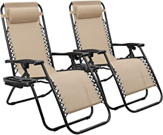 Devoko Patio Zero Gravity Chair Outdoor Folding Adjustable Reclining Chairs Pool Side Using Lawn Lounge Chair with Pillow ...
