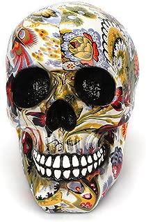 LBSST Ornament Handicrafts Decorative Statue, Skull Ornaments Head Color Flower Painting