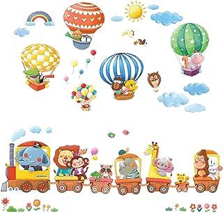 DECOWALL DL-1406L Animal Train & Hot Air Balloons Kids...