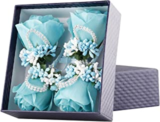 YSUCAU Rose Boutonniere Handmade Corsage Classic Artificial Groom Flowers Brooch with Pin for Wedding Prom Party (Blue)