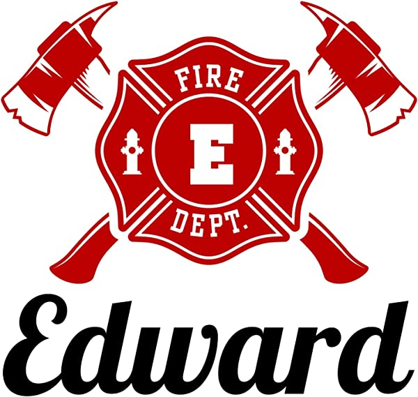 Firefighter Firetruck Engine Emblem Axes Personalized Custom Name Vinyl Decal Sticker Decor SUPER JUMBO 26 X 25 Inches
