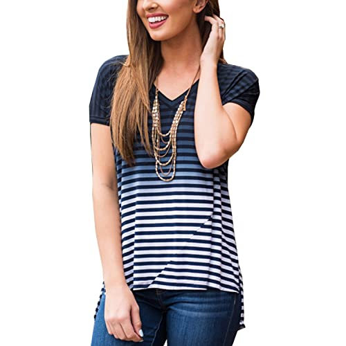 02da81a080ada1 Merryfun Women s Striped Short Sleeve Tie Dye Ombre Casual Blouse Shirt Tops
