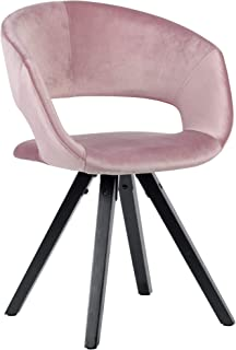 Wohnling Silla de comedor de terciopelo rosa con patas negras modernas | Silla de cocina con respaldo | Silla con patas de madera | Silla tapizada Carga máxima 110 kg