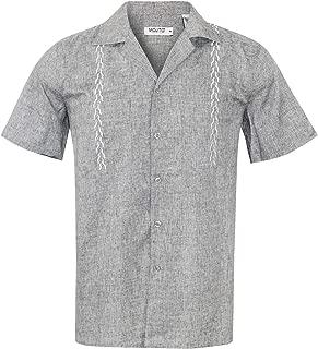 Guayabera Cuban Men's Beach Wedding Short Sleeve Button Up Casual Dress Embroidered Shirt