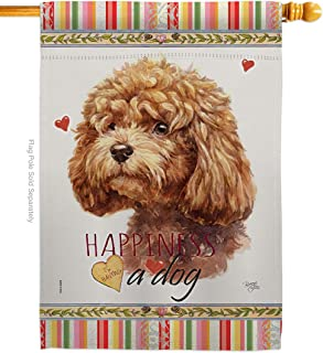 Breeze Decor Poodle Happiness House Flag Dog Puppy Spoiled Paw Canine Fur Pet Nature Farm Animal Creature Decoration Banne...