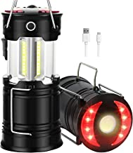 2 Pack Camping Lanterns, Rechargeable Led Lanterns, Hurricane Lights with Flashlight and Magnet Base for Camping, Hurrican...