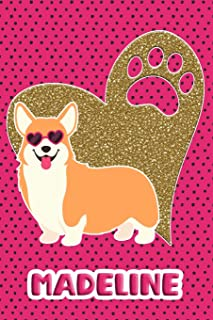 Corgi Life Madeline: College Ruled Composition Book Diary Lined Journal Pink