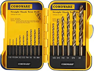 COMOWARE Cobalt Drill Bit Set- 15Pcs M35 High Speed Steel Twist Jobber Length for Hardened Metal, Stainless Steel, Cast Iron and Wood Plastic with Indexed Storage Case, 1/16