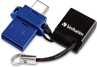 Verbatim 64GB Store 'n' Go Dual USB 3.0 Flash Drive for USB-C Devices – Blue