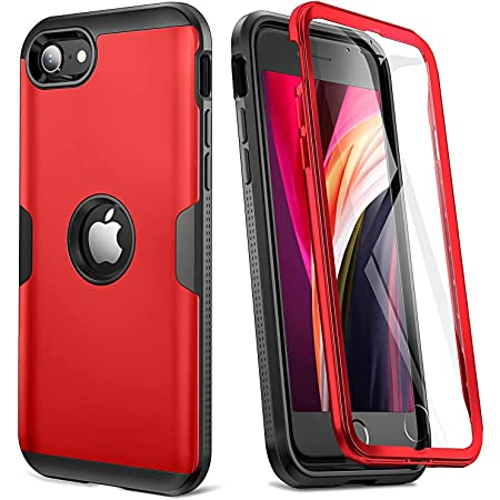 [2020 Upgraded] YOUMAKER iPhone SE 2020 Case, Full Body Rugged with Built-in Screen Protector Heavy Duty Protection Slim Fit Shockproof Cover for iPhone SE 2020 Case 4.7 Inch (2020) - Red/BK