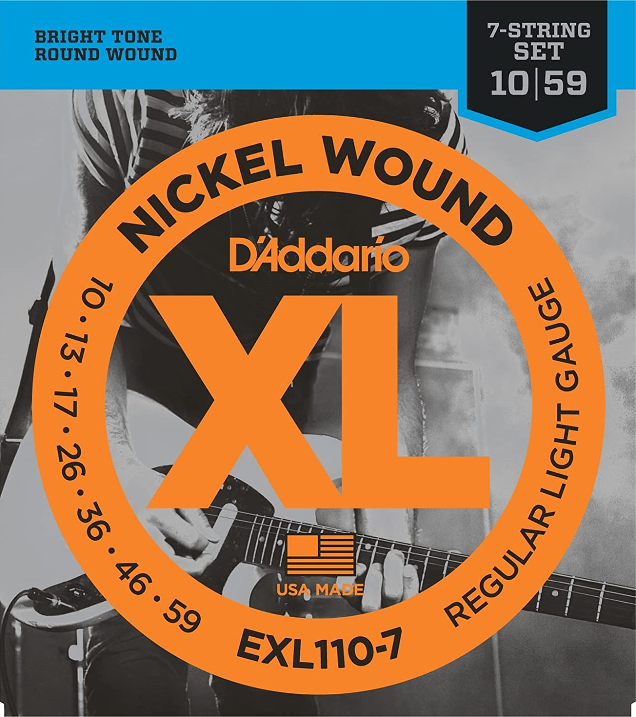D'Addario XL Nickel Wound Electric Guitar Strings, Regular Light, 7 String Gauge – Round Wound with Nickel-Plated Steel for Long Lasting Distinctive Bright Tone and Excellent Intonation – 10-59, 1 Set