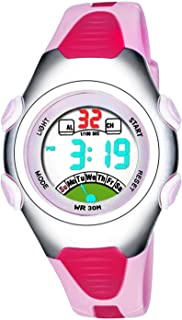 Girls Digital Watches, Kids 3 ATM Waterproof Sports Watch with Alarm/LED Light/Date, Teenagers Childrens Outdoor Sport Electronic Wrist Watches for Little Girls - Pink