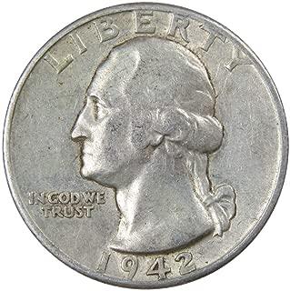 1942 D 25c Washington Silver Quarter US Coin Average Circulated