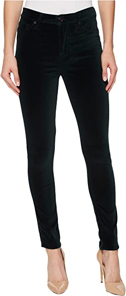 Barbara High-Waist Super Skinny Velvet Jeans in Agave