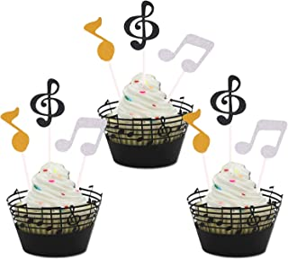 Sakolla (Set of 54) Music Notes Cupcake Topper and Wrappers for Birthday Party Decorating and Baby Shower