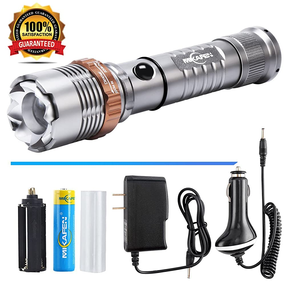 Rechargeable Flashlight LED Flashlight With AC+Car Charger+18650 Battery