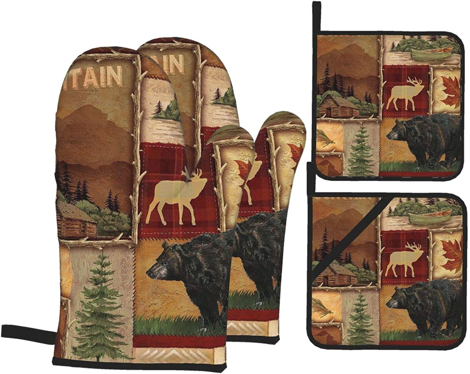 Msacrh Lodge Style Northwoods Cabin Oven Mitts and Pot Holders S
