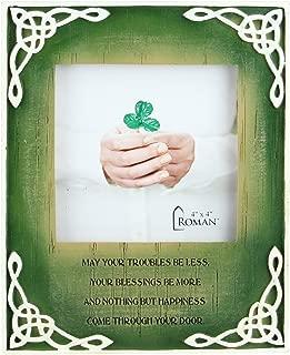 "Roman 7"" Green Distressed Finished Celtic Knots Irish Photo Frame with Inspirational Prayer"