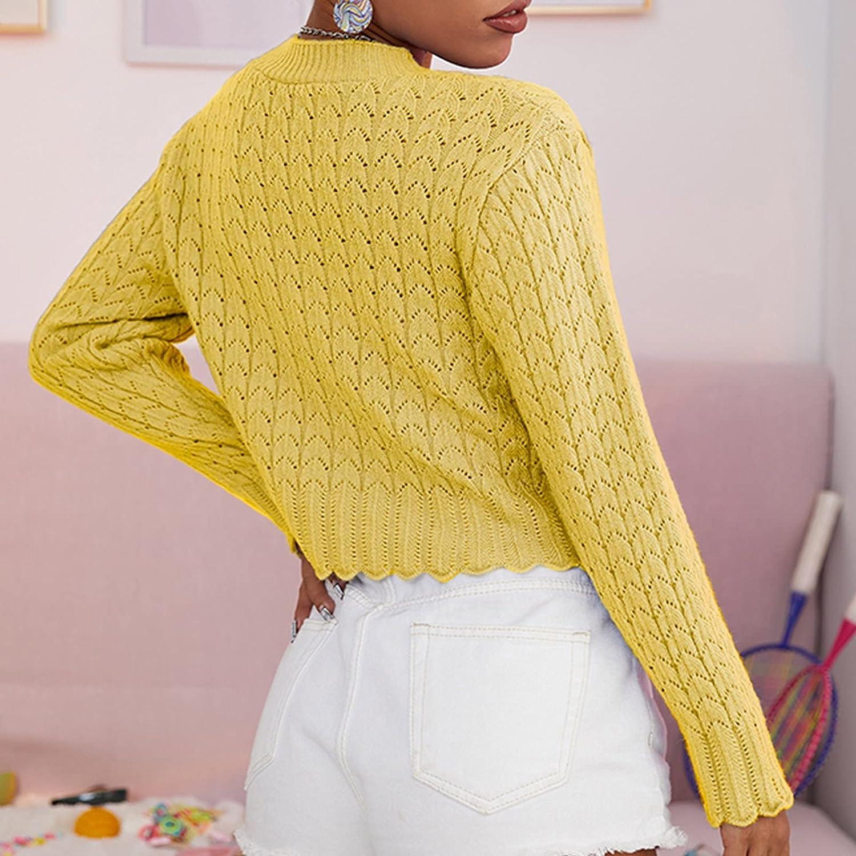 Women's Cropped Cardigan Long Sleeve Down Knitted Short Bolero Shrug Sweaters Fishtail Short Cardigan Sweater