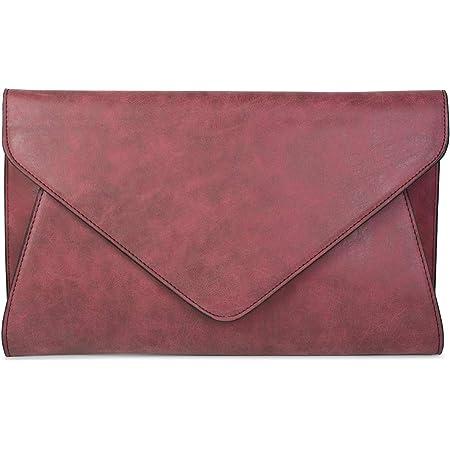 styleBREAKER Clutch Abendtasche im Envelope Kuvert Design mit Schulterriehmen und Trageschlaufe, Damen 02012087, Farbe:Bordeaux-Rot