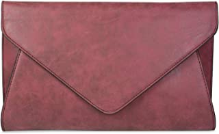 styleBREAKER Clutch Abendtasche im Envelope Kuvert Design mit Schulterriehmen und Trageschlaufe, Damen 02012087, Farbe:Bor...