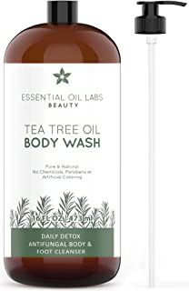 Tea Tree Oil Body Wash, 16 oz- Daily Detox Antifungal Body and Foot Cleanser - Great for Acne by Essential Oil Labs