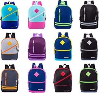"""24 Pack - 17"""" Bulk Backpacks with Bungee or Front Zipper Pockets in 8 or 12 Assorted Styles Colors - Wholesale Bookbags"""