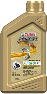 Castrol 06114 POWER 1 4T 10W-50 Synthetic Motorcycle Oil, 1 Quart Bottle, 6 Pack