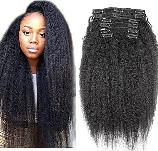 Light Yaki Clip In Brazilian Hair Extensions 7pcs Clip In Human Hair Extensions 120g Kinky Straight Clip In hair Extensions 14inch