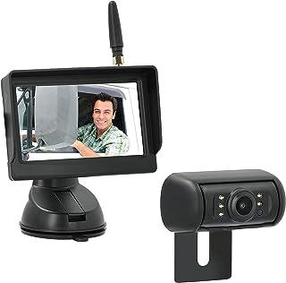 "VSG24 24139 – 4,3"" Draadloos Achteruitrijsysteem voor Auto's, RVS Camera Set, 600TV Resolutie, Nachtzicht, 120° Hoek, 12V,..."