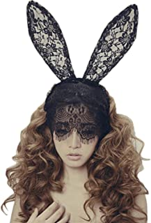 1PC Black Rabbit Ears Lace Face Veil Halloween Ball Masquerade Sexy Half Face Mask Hairband Hairwear For Girls Use