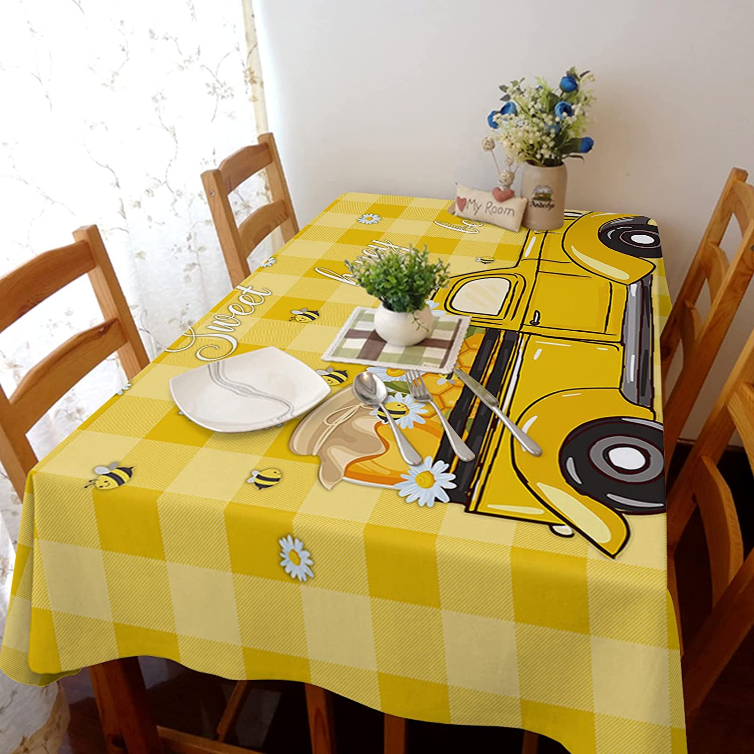 TH XHome Tablecloth Linen Burlap Weights Limited time cheap sale Honey Fabric Sweet Ranking TOP16 Bee