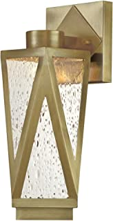 Westinghouse Lighting 6374600 Zion One Dimmable Fixture, Antique Brass Finish with Clear Seeded Glass Porch Light LED Outdoor Wall Sconce Lantern,