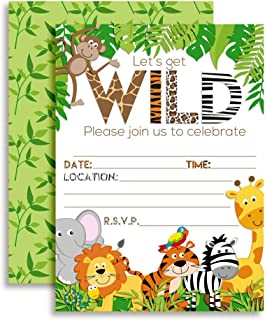 Let's Get Wild Jungle Animal Party Invitations, 20 5